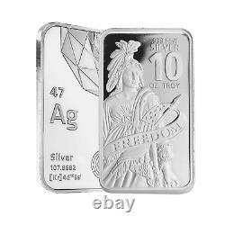 10 oz DGSE. 999 AG Silver Bar Freedom Symbol Stamped