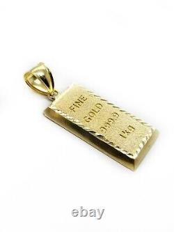 10K Solid Yellow Gold Brick Bar Fine Gold Bar Pendant 1.06 2.7 Gr
