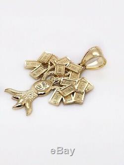 10K Yellow Gold Diamond Cut $100 Lucky Money Bag Tree Dollar Pendant 3.8 Gr Mens