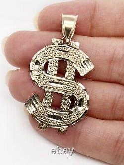 10K Yellow Gold Diamond Cut Large Dollar Sign Mens Pendant 3 Grams, 1.34