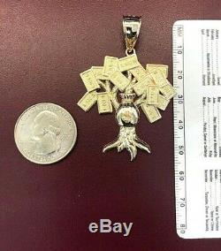 10K Yellow Gold Diamond Cut Lucky Money Tree Dollar Bag Pendant 6.3 Gr Men 1.65