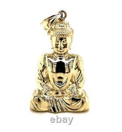 10K Yellow Gold Large Buddha Pendant Zen Meditation Buddhist Charm 2 11.1 Grams