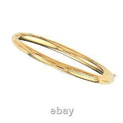 10K Yellow Gold Shiny Bangle Bracelet 5mm 7