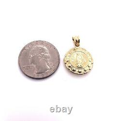 10K Yellow Gold Two Sided Virgin Mary Guadalupe Jesus Christ Pendant 2.2 Gr