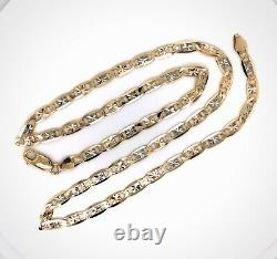10k Solid Tri Color Gold Valentino Chain Necklace 4.3 mm 24 11 Gr