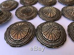 11- Early Old Pawn Navajo Stamped Sterling Silver Kingman Turquoise Concho Belt