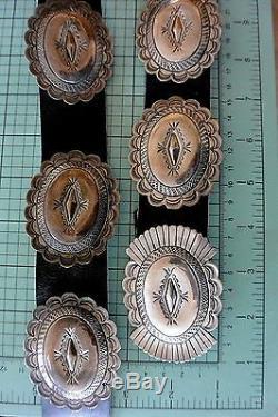 11+ozt. SUSIE JAMES Navajo CONCHO BELT Exquisite Stamping Sterling Silver Suzie