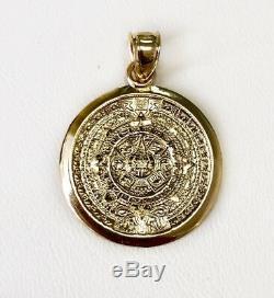 14K Solid Yellow God Aztec Mayan Mexico Sun Calendar Charm Pendant 2.6 Grams