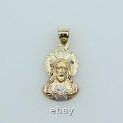 14K Yellow 3 Tri-color Gold Dia-Cut Small Jesus Sacred Heart Stamp Charm Pendant