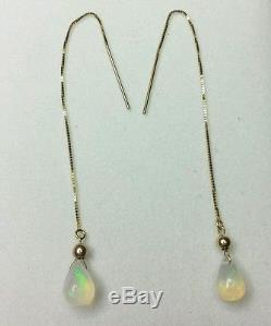 14K stamped Gold 1ct Ethiopian fire Opal pear threader Dangle Earrings