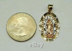 14k Solid Tri Color Gold Virgin Mary Guadalupe Oval Charm Pendant 1 Unisex