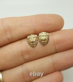 14k Solid Yellow Gold Lion Head Leo Stud Earrings Women/Children Push Back