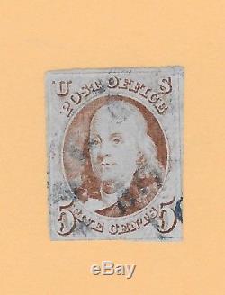 1800s 1847 Scott #1 Benjamin Franklin 5-cent USA US Stamp OLD Blue Cx (ST-2)