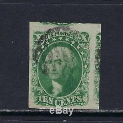 1851-57 U. S. Scott 14 10c green Washington light grid cancel (position 77L)
