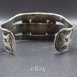 1930s Vintage NAVAJO Stamped Coin Silver & TURQUOISE Cuff BRACELET Chisel Split