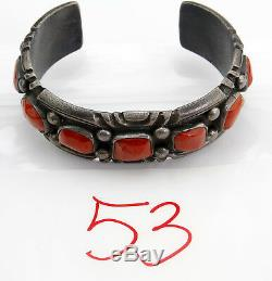 1950's Old Pawn Navajo Indian Hand Stamped Red Coral. 925 Silver Cuff