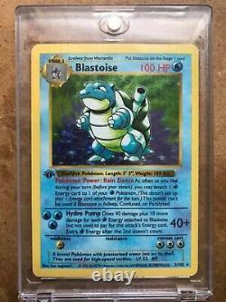 1999 Pokemon 1st Edition, Blastoise Shadowless (Thick Stamp)