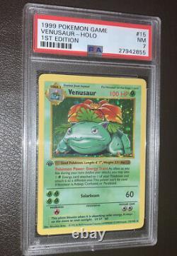 1999 Pokemon Venusaur 1st Edition 15/102 SHADOWLESS PSA 7 Base Set Thick Stamp