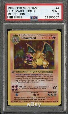 1st Edition PSA 9 MINT CHARIZARD THICK STAMP 1999 Pokemon NEW REHOLDER