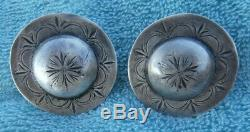 2 Vintage Stamped Sterling Silver 1-5/8 in. Engraved Domed Loop Back Conchos