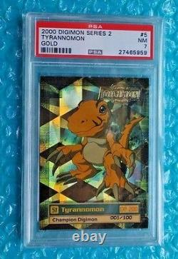 2000 Digimon Series 2 Tyrannomon Card #5 Gold Stamp 001-100! Graded PSA-7