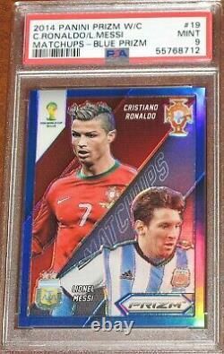 2014 Prizm World Cup Cristiano Ronaldo Lionel Messi Matchups BLUE # /199 PSA 9