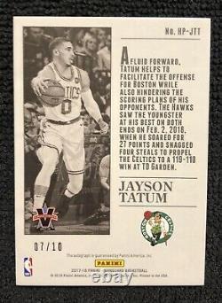 2017 Panini Vanguard Press Gold Jayson Tatum 07/10RC Rookie Auto Celtics On Card