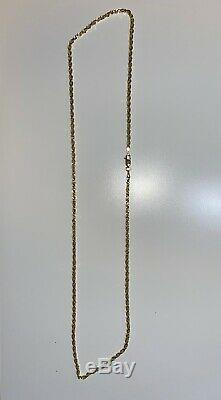 24 Inch 14k Solid Yellow Gold STAMPED Diamond Cut Rope Chain Necklace 13G