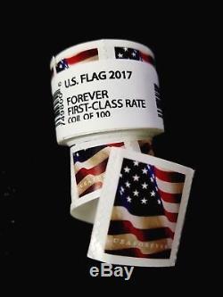 300 FOREVER STAMPS 3 rolls of 100 2017 USPS Forever US Flag Stamp Coils