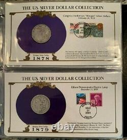 35 Coin Complete Morgan and Peace Dollar US Postal Commemorative Date, Stamp Set