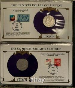 35 Coin Complete Morgan and Peace Dollar US Postal Commemorative Stamp, Date Set