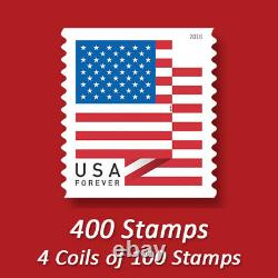 400 USPS FOREVER STAMPS, 4 Coils of First Class Mail Postage