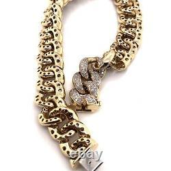 43 Grams 10k Yellow Gold 3.5 Ct Natural Diamond Mens Miami Cuban Link Bracelet