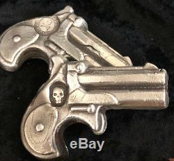5 TR/OZ MK BARZ Deadly Derringer Skull Stamp 999+ FS