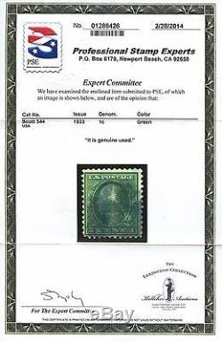 #544 F-vf Used 1¢ Washington - Scarce - With Pse Cert CV $3,750 Wlm3502
