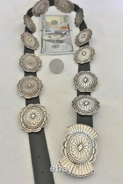 6+ozt. SUSIE JAMES Navajo CONCHO BELT Exquisite Stamping Sterling Silver Suzie