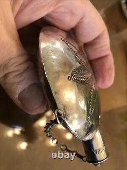 A+ Navajo Dine Stamped Technique Sterling Silver Snuff Bottle Chain Flask 4 X 3