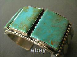 ANTHONY SKEET Native American Square Turquoise Sterling Silver Stamped Bracelet