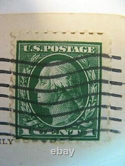 Antique 1914 George Washington 1 Cent Green Stamp/wm3/performation 10 X 12/rare