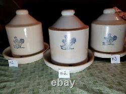 Antique Stoneware Ceramic Chicken Poultry Feeder Waterer Crock with Chicken Stamp