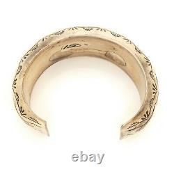 Antique Vintage Sterling Silver Native Navajo Stamped HUGE Cuff Bracelet 51.9g