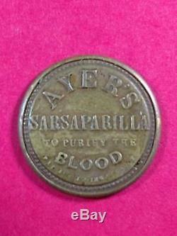 Ayer's Sarsaparilla 3 Cent Encased Postage Stamp HE-32 EP-34b S-15b