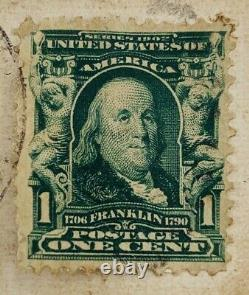 Ben Franklin 1908 One Cent Green Stamp Rare Missed Cancel Mark On Postcard (C2)