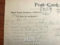 Ben Franklin 1910 One Cent Green Stamp w rare perforation on postcard