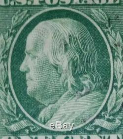 Benjamin Franklin One Cent Green Stamp 12 Perforation