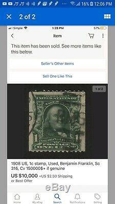 Benjamin Franklin Stamp RARE ANTIQUE 1901-1908 1 CENT STAMP 100% AUTHENTIC