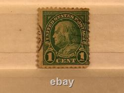 Benjamin Franklin one cent stamp 1936 Rotary green 11 Perf On Top And Bottom