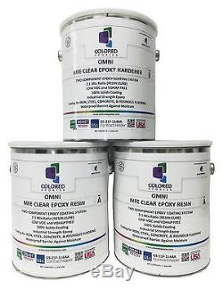CLEAR EPOXY RESIN 100% SOLIDS HIGH GLOSS FOR PLYWOOD, CONCRETE, BASEMENTS. 3Gal Kit