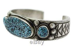 Calvin Martinez, Bracelet, Kingman Turquoise, Stamping, Silver, Navajo Made, 6.75