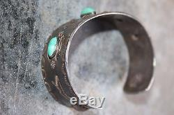 Coin Silver Bracelet Cuff 31g Navajo stamped Turquoise WOW! Fred Harvey
